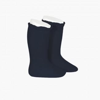 Chaussettes hautes avec dentelle Bleu marine