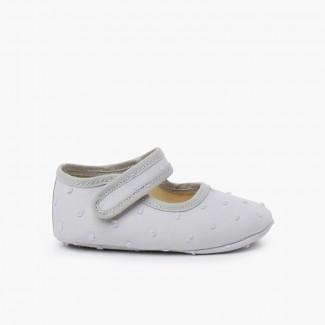 Chaussures Babies en Plumetis pour Bébés Gris