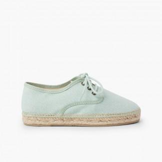 Chaussures blucher en lin avec semelle façon espadrilles Aigue-marine