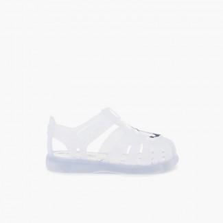 Sandales pour la plage nautiques à scratch Blanc