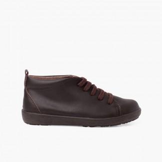 Chaussures en cuir type bottines à lacets Marron