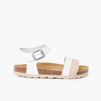 Sandale à lanières bicolore avec semelle bio ergonomique Blanc et beige
