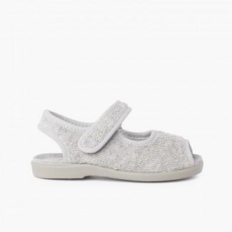 Chaussons Sandale en tissue serviette Gris