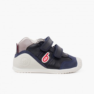 Chaussures bicolores premiers pas Biomecanics  bleu marine et rouge