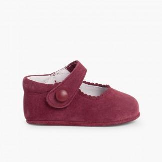 Chaussures en suède avec fermetures à scratch pour bébés Bordeaux