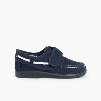 Chaussures Bateau en Toile et Fermeture à scratch Bleu marine