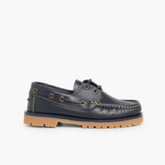 Chaussures Bateaux Garçon à Lacet Bleu marine