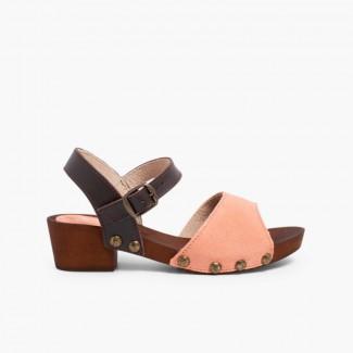 Sandales en Suède Avec Semelle Façon Bois Saumon