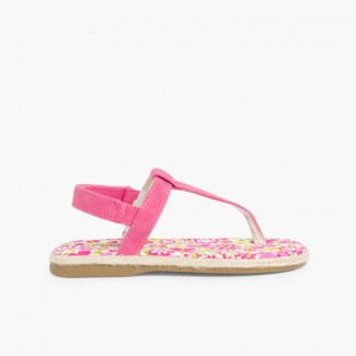 Sandales entredoigts Toile à scratch Fille Fucsia