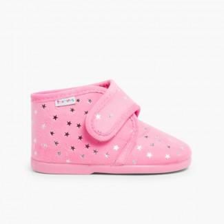 Pantoufles confortables pour enfant avec étoiles brillantes Rose