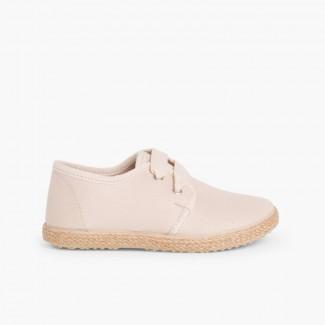 Chaussures Derbies Façon Espadrille Avec Effet Satiné  Beige