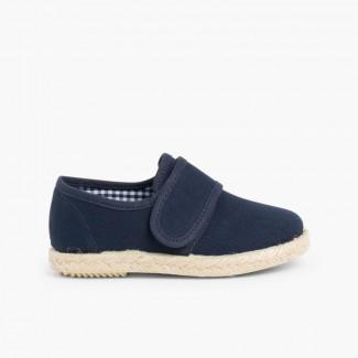 Chaussures Blucher Avec à scratch et Semelle D'espadrille Bleu marine