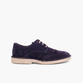 Chaussures Blucher en suède Bleu marine
