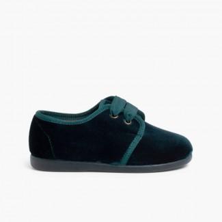 Chaussures en velours à ruban Vert