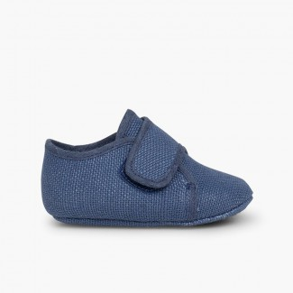 Badana Blucher Bébé à scratch  Bleu