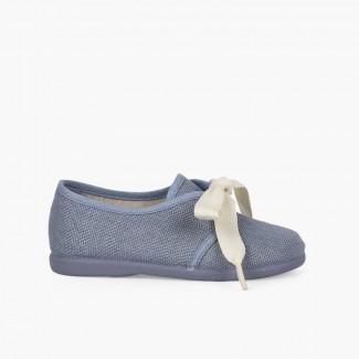 Blucher lin enfants nœud écru Bleu