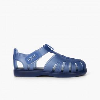 Sandales Plage basiques à à scratch tobby Bleu marine