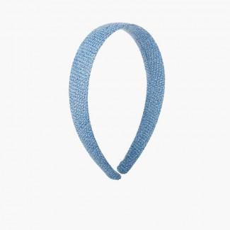 Serre-tête large en toile de sac Bleu de France