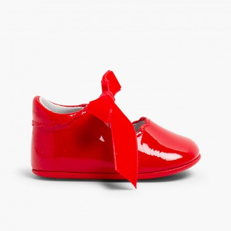 Chaussures Babies Vernis Nœud Velours  Rouge