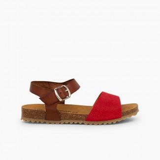 Sandales bio en cuir et suède gravé pour petite fille Rouge
