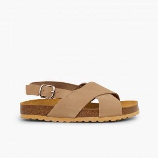 Sandales à brides croisées pour garçon en nobuck Taupe