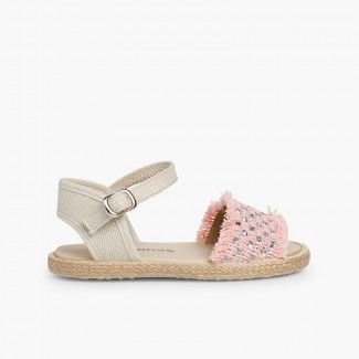 Sandales à franges et bandes brillantes Rose