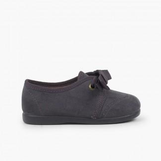 Chaussures Blucher bébé enfant serratex avec lacets Gris