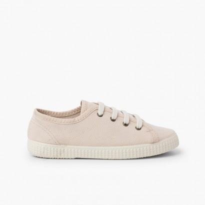 Sneaker en toile végétalienne bio Beige