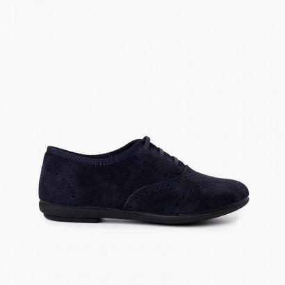 Chaussures Blucher fille et femmee en cuir de suède Bleu marine