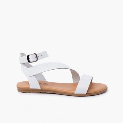 Boucle de bracelet de sandale en cuir pour fille et femme Blanc