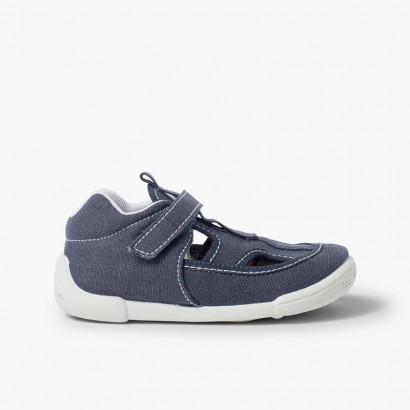 Sandales en toile pour enfants avec fermeture à scratch Bleu marine
