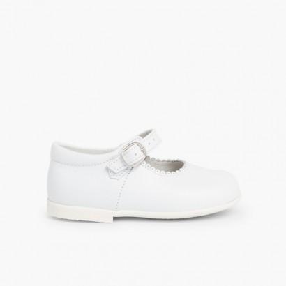 Chaussures babies à boucle en cuir  Blanc