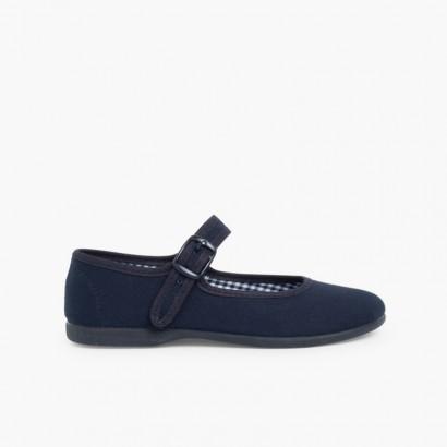 Chaussures en toile à boucle pour Fille (Grandes Tailles) Bleu marine