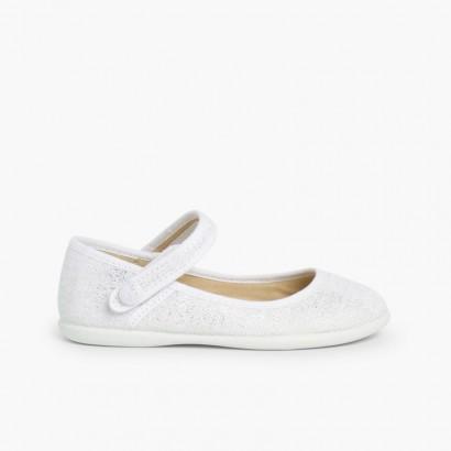 Chaussures babies à scratch en lin métalisé Blanc