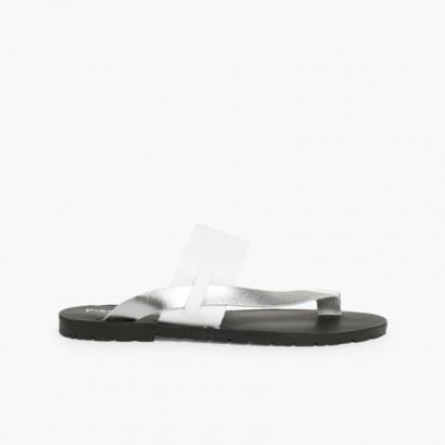 Sandales entre Doigts en Cuir Métallisé  Argent