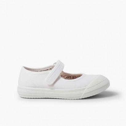 Chaussures Babies à scratch Bout Caoutchouc Renforcé Blanc