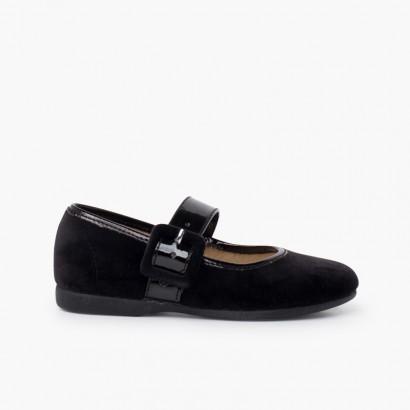 velours chaussures babies large bracelet en cuir verni Noir