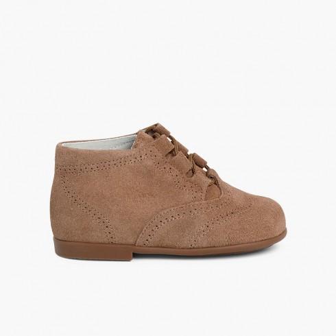 Bottes Chaussures Anglaises en Suède Taupe