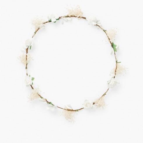 Bande simple pour cheveux avec fleurs et gysophile Blanc