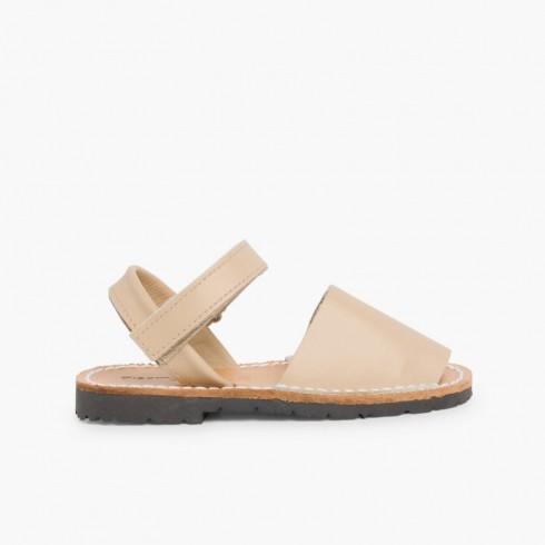 Sandales Avarcas cuir nappa et à scratch pour Enfant  Sable