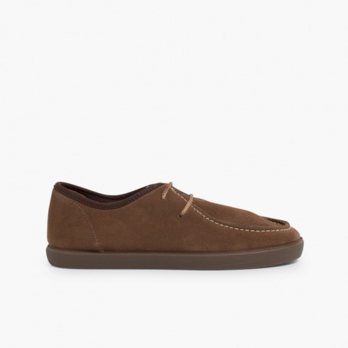 Chaussures bateau en suède Garçon et Adulte Taupe