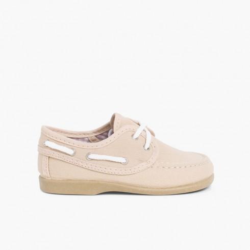 Chaussures Bateau en Toile avec Lacets  Sable