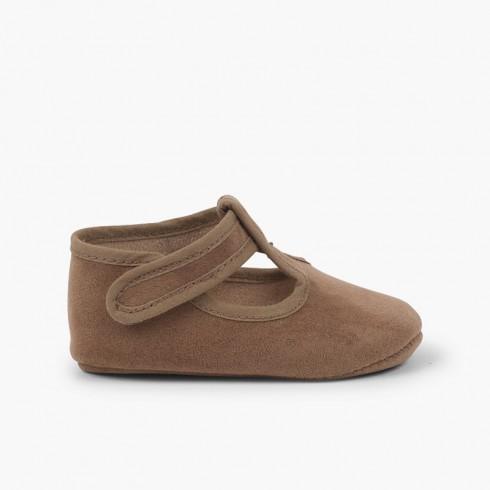 Chaussures Salomé bébé enfant serratex à scratch Taupe