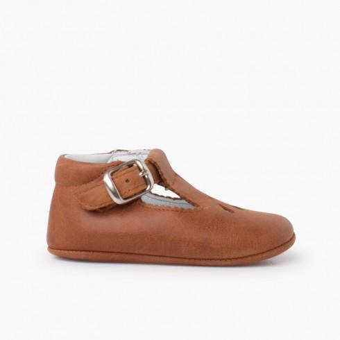 Chaussures salomé bébé en cuir avec détail perforé Couleur Cuir