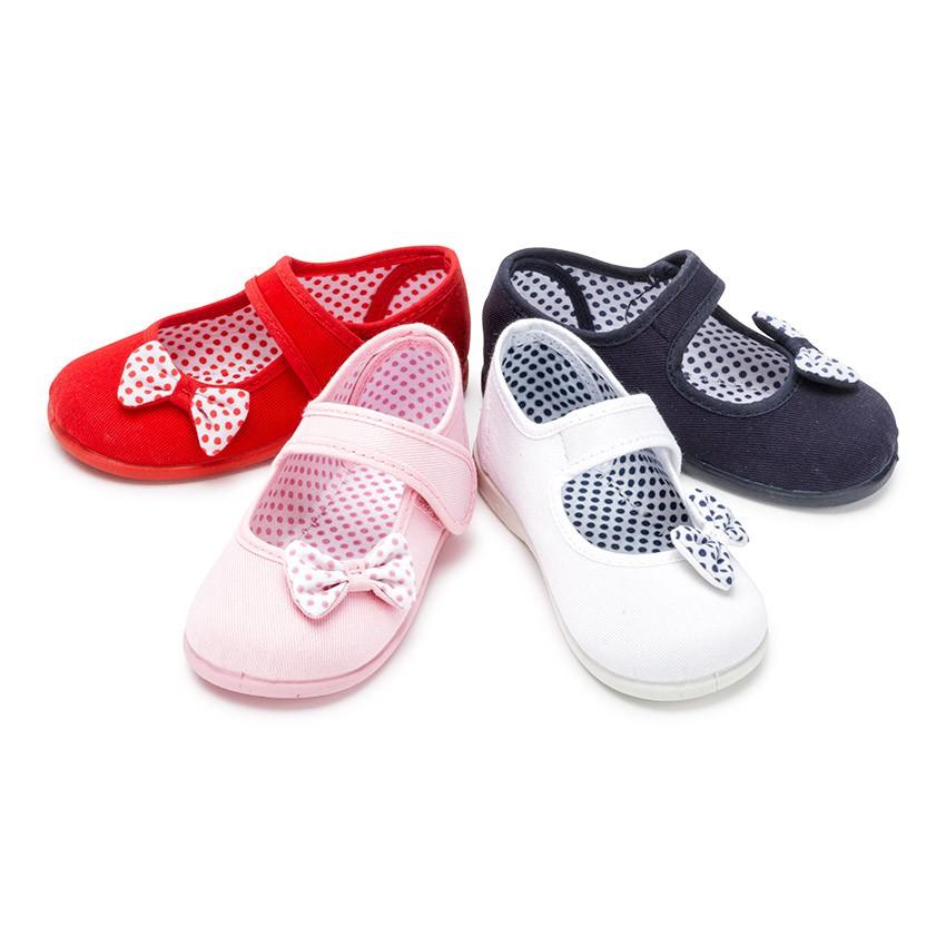 Babies textile avec à scratch et ruban à pois