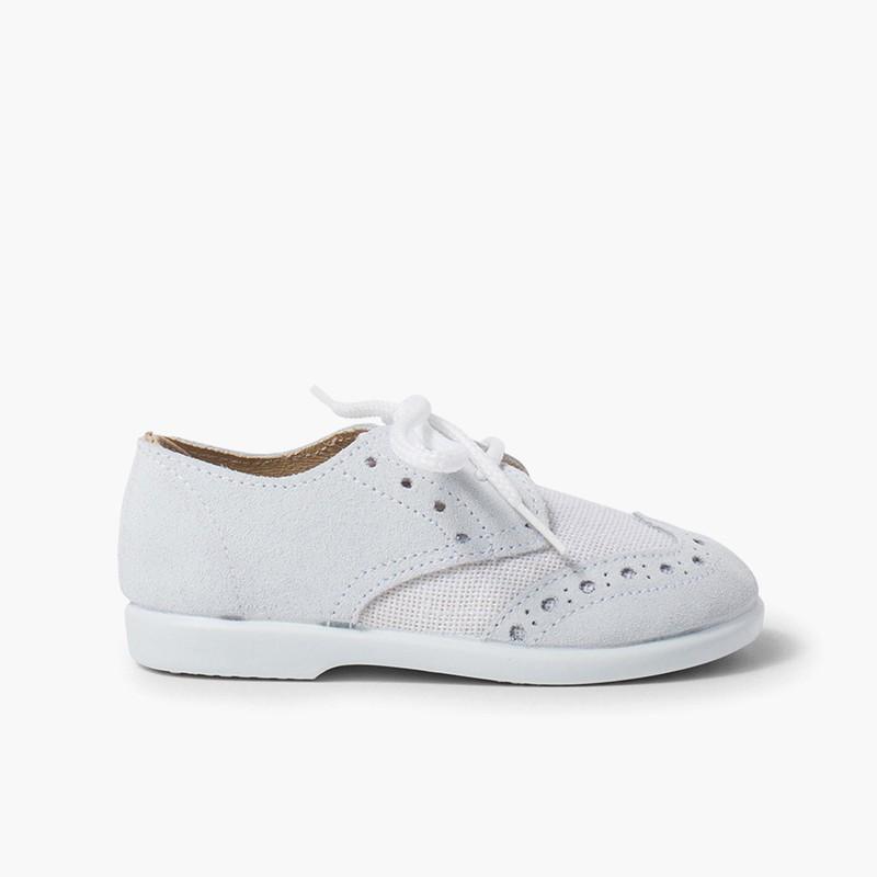 Chaussures blucher piquées en lin et suède pour garçons