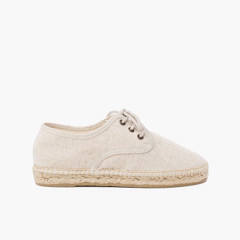 Chaussures blucher en lin avec semelle façon espadrilles