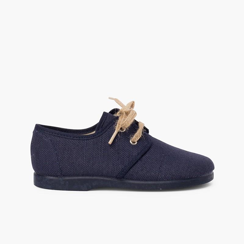 Chaussures blucher en toile avec lacets rustiques