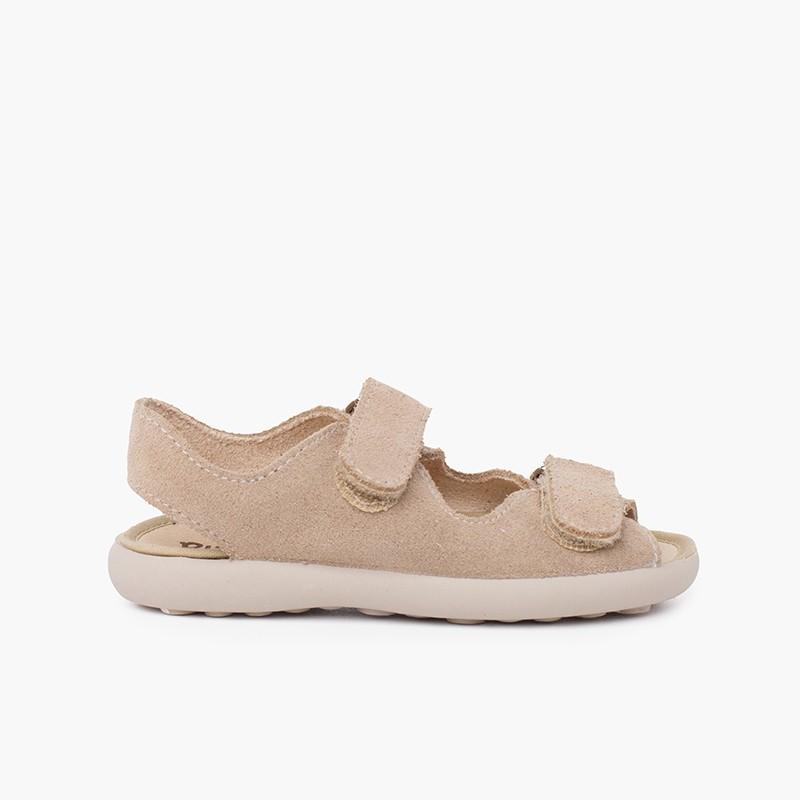 Sandale en croûte de cuir avec bandes avant adhérentes