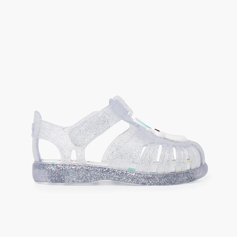 Sandales de plage bande adhésive avec licorne pailletées